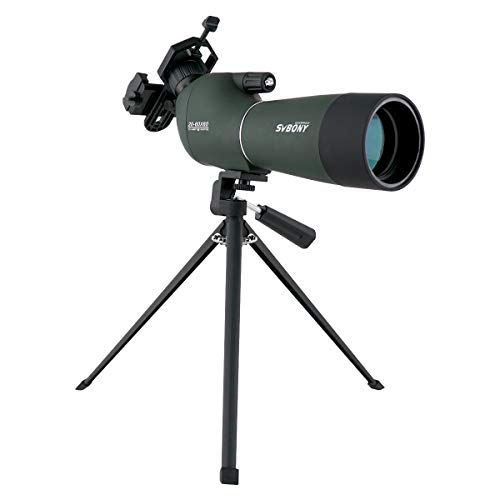 SVBONY SV28 Porro Prism Spotting Scope 20-60x60mm Bird Scopes Shooting Bird Watching 45 Degree Angled Eyepiece Telescope Target Shooting Hunting Bak4 Prism Phone Adapter(20-60x60mm)