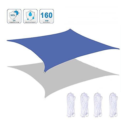 Patio Shack Toldo Vela De Sombra Rectangular 2x2 M Hdpe Transpirable Protección UV con 4 Cuerdas para Patio, Exteriores Jardín