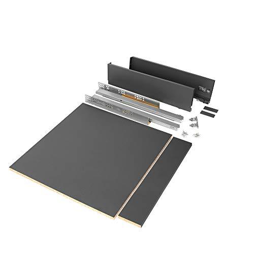 Emuca - Kit de cajón para cocina o baño con tableros incluidos y guias de extracción total con cierre suave, altura 93 mm para módulo 600 mm y profundidad 500 mm, Gris Antracita.