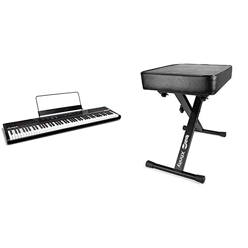 Alesis Recital | 88 Key Beginner Digital Piano/Keyboard with Full Size Semi Weighted Keys & RockJam KB100 Adjustable Padded Keyboard Bench, X-Style, Black