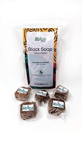 Jabón negro africano de The Abiba Project | Crema hidratante y orgánica natural cruda para la piel con karité puro, manteca de cacao y aceite de coco para arrugas, cicatrices, acné, eczema, piel seca