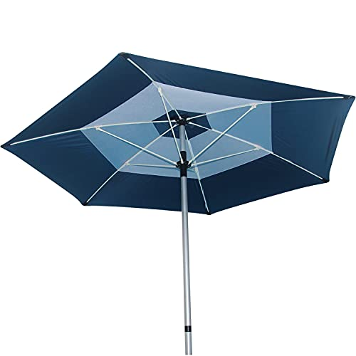 7.5 Foot Heavy Duty Beach Umbrella - UPF 55+ UV Protection Umbrella Shade Effectively Blocks 99% of UVA UVB Light - Travel Beach Umbrella With Vented Double Canopy & Carrying Bag