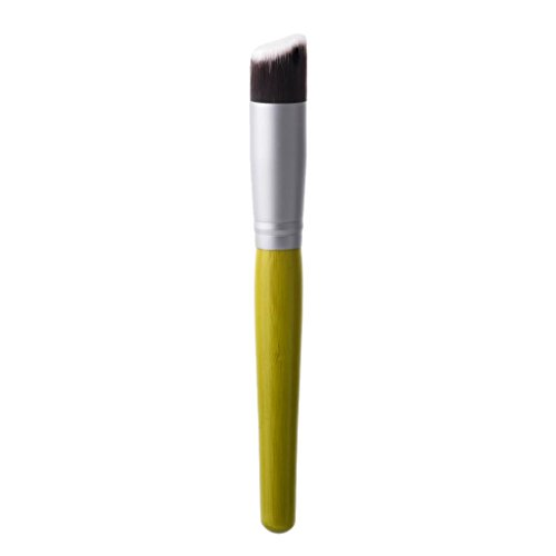 Blesiya Bambou Angle Plat Tampon Tampon Liquide Fond De Teint Bronzer Outil Cosmétique - Incliné
