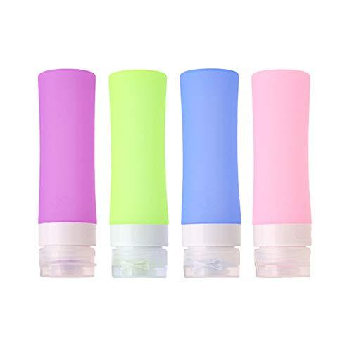 MUUZONING Botellas de Viaje de Silicona, 100% BPA Gratis Recipientes rellenables portátiles a Prueba de Fugas para champú, Acondicionador,Loción, artículos de tocador(4 Unidades) -80ml