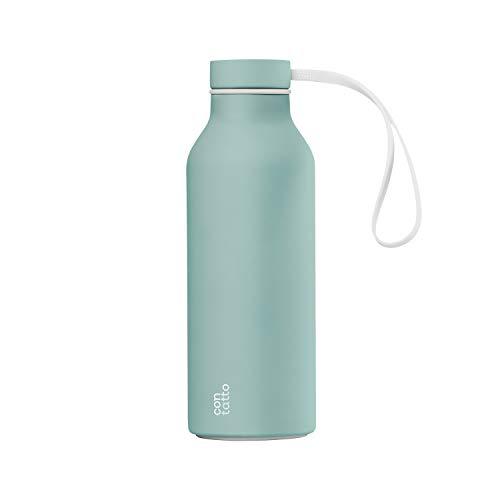 con-tatto Bottle Bottiglia Termica con 3 Pareti in Acciaio e Rame - Bevande Fredde per 25 Ore e Calde per 15 Ore - Fascia e Tappo Sport Lid Inclusi! (Fifth Avenue)