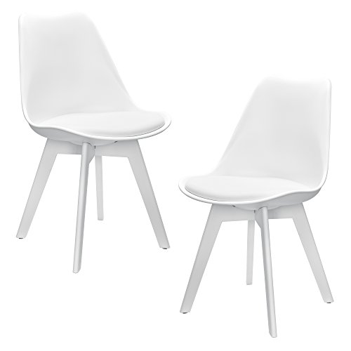 [en.casa] Set de 2 sillas de Comedor (Blanco) Set para Comedor/salón/Juego de sillas para Cocina