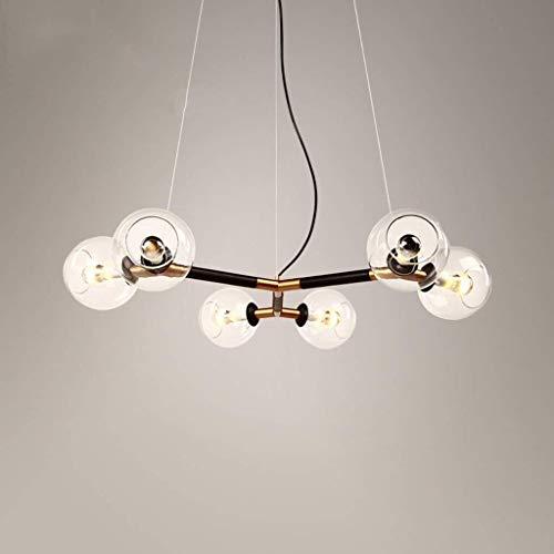 RONGW JKUNYU Luces Pendientes, luz Ajustable 5 Colgantes de la lámpara, Oro Mate y Cristal Claro de la Cubierta de Accesorios de iluminación Iluminación Colgante