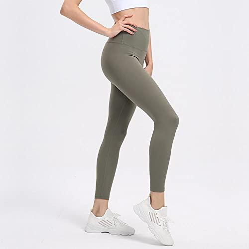 GREQ Pantalones de Yoga Mujer Leggins Nuevos Pantalones de Nueve Puntos de Yoga de otoño e Invierno, Leggings agradables para la Piel Desnudos, Pantalones de Yoga para Correr, Fruta Verde Green_6 / M