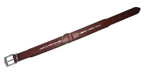 Home 3416455 Fantasia - Collar de Piel con Cadena de Perlas, 45 cm de Largo, 25 mm de Ancho, Color marrón