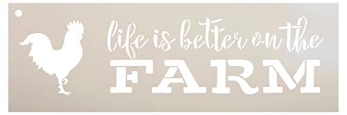 """Life is Better On The Farm Stencil with Chicken by StudioR12 