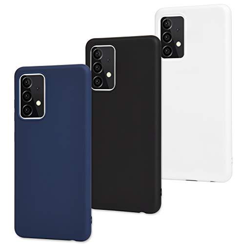 Archi 3X Samsung Galaxy A52 5G Cover in di Silicone Custodia Opaca Cover Protettiva in Gomma TPU Ultra Sottile per Samsung A52 5G-A52 Custodia per 5G, Trasparente (Nero, Blu, Bianco)