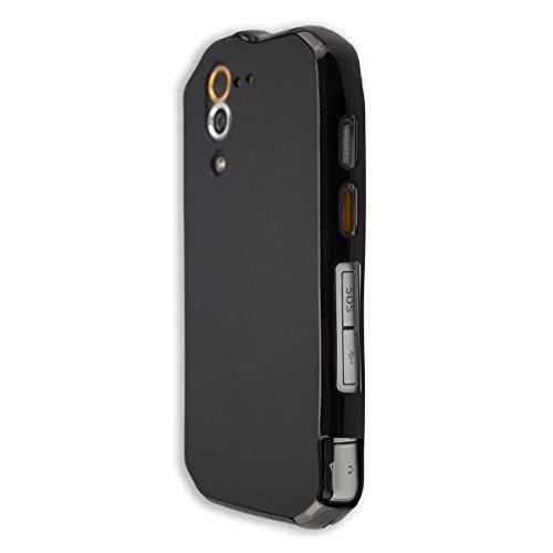 caseroxx TPU-Hülle für Cat S60, Tasche mit & ohne Bildschirmfolie (TPU-Hülle mit Bildschirmschutzfolie, schwarz)