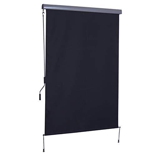 Outsunny Toldo Vertical Enrollable con Manivela Protección UV para Interior y Exterior Balcón Porche Terraza 140x250 cm...
