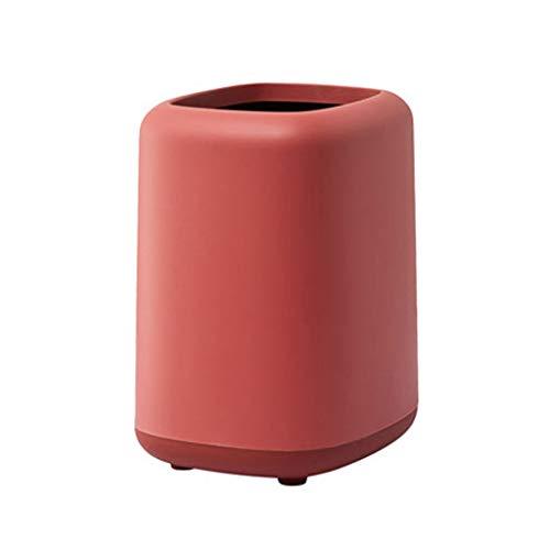 Poubelle Corbeille Nordique Peut-□ Bin Poubelle rectangulaire, Corbeille for Salle de Bains, Chambre, Bureau et Plus Bacs à déchets (Color : Red, Taille : 12L)