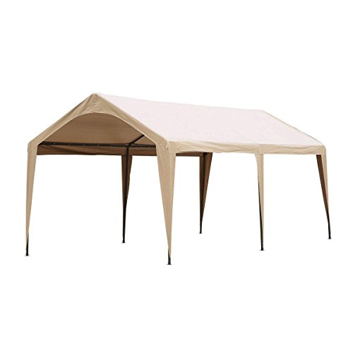 Abba Patio 10 x 20-Feet Outdoor Carport Canopy with 6 Steel Legs, Beige