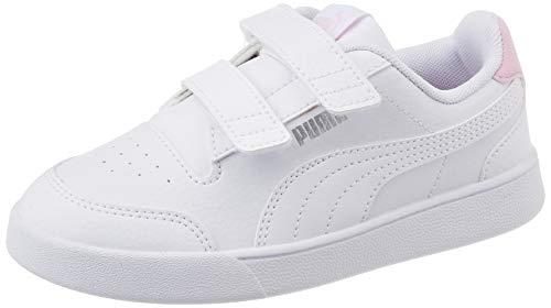 PUMA Unisex-Kinder-Sneaker Shuffle V Ps, Weiß - Puma Weiß Puma Weiß Pink Lady - Größe: 33 EU