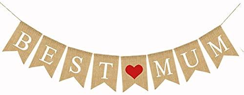 BEST MUM Banner Decoraciones rústicas para fiestas del día de la madre Bunting Banner Guirnalda para decoraciones de cumpleaños de la madre Photo Prop Photo Booth Telón de fondo