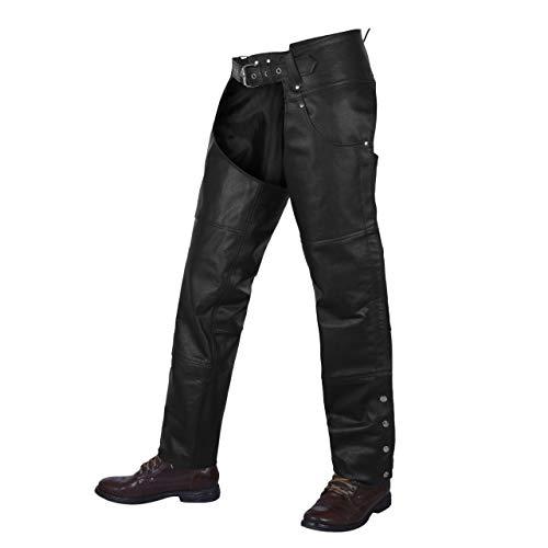 ALPHA CYCLE GEAR Motorcycle Chaps Plain Bikers Riding Pants ASSLESS Cowboy Vintage Chaps Black...