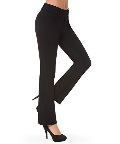 Balleay Art Women's Work Pull-On Straight Leg Yoga Dress Pants, Belt Loops, Dress Yoga Pants for Office, Long Workout Pants (Black,Large)