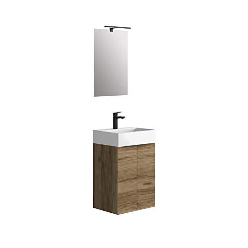 Baikal 280034090, Mueble de baño pequeño con Lavabo cerámico y Espejo con Aplique de luz LED, de Dos Puertas, Acabado en Color Teka, de fácil montado, Medidas: 45 x 36 x 60 cm