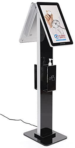 Displays2go Double Sided Digital Sign Sanitizer Station, Independently Operating Screens, 10pt PCAP Touch – Black (DGDSHSM16)