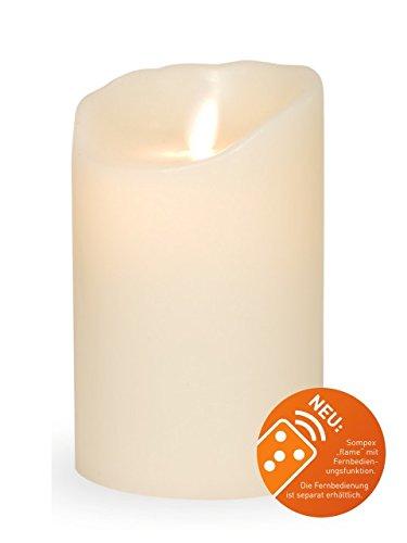 sompex Flame Echtwachs LED Kerze, fernbedienbar, Elfenbein - in verschiedenen Größen, Höhe:12.5 cm