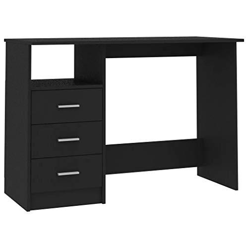 Ausla 110 x 50 x 76 cm - Escritorio con cajones negros - Escritorio para ordenador de aglomerado con 3 cajones y un compartimento abierto, mesa para ordenador de oficina o casa