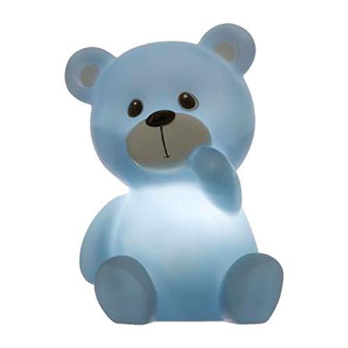 Ducomi Roborso – Nachtlicht LED Bär Design Nachttischlampe für Kinderzimmer Kinder und Kleinkinder kabellos tragbar – batteriebetriebene Lampe, 9,2 x 10,5 x 13 (blau)