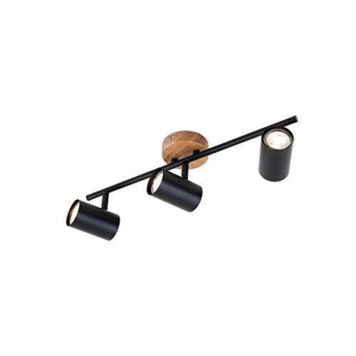 Briloner Leuchten, foco retro, lámpara de techo vintage, focos giratorios y orientables, 3x GU10, metal-madera, negro, 473x90x143mm (largo x ancho x alto) (2920-035)
