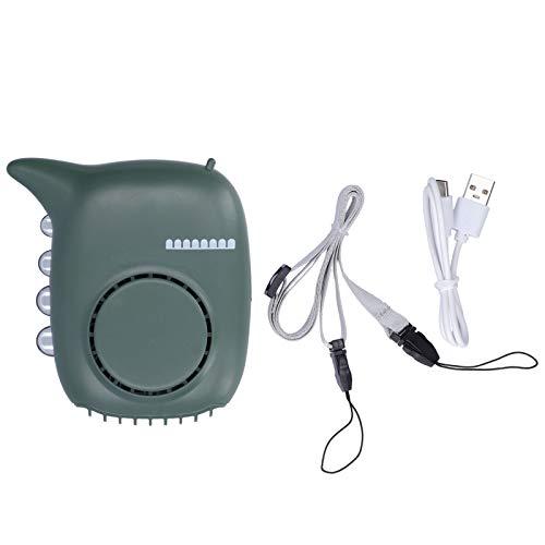 Mini Ventilador eléctrico Ventilador Verde Mini Ventilador portátil USB Recargable Ventilador de Cuello Colgante para Mesa de Noche Oficina