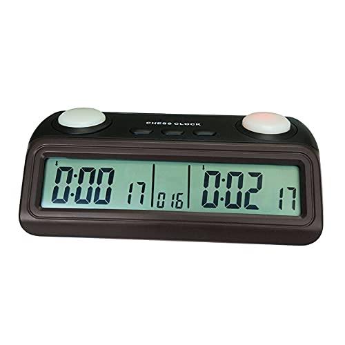 LHYCM Reloj De Ajedrez Digital, Reloj De Ajedrez Portátil con Indicador De Botón Y Botones Extra Grandes, Temporizador De Ajedrez Multiusos para Juegos De Mesa Profesionales