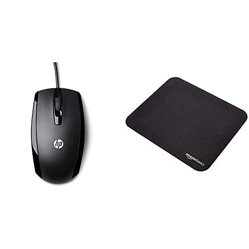 HP X500 - Ratón con Cable (3 Botones, óptico, USB), Negro + Amazon Basics - Alfombrilla de ratón para Videojuegos