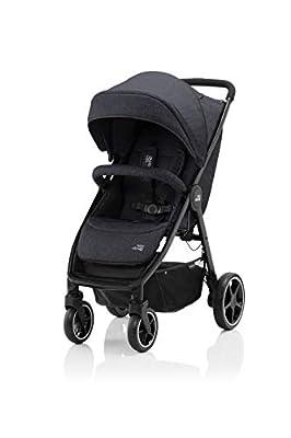 BRITAX RÖMER Carrito Bebe B-AGILE M, Compacto y Plegable con una Mano, Niños de 0 a 22 kg, desde el Nacimiento hasta los 4 Años, Negro (Black Shadow)