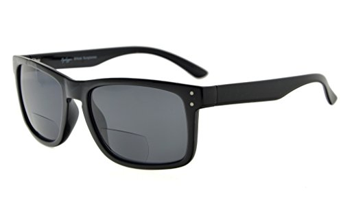 Eyekepper Bifocal Sonnenbrille Männer Frauen (Schwarzer Rahmen, Grau Linse +3.0)