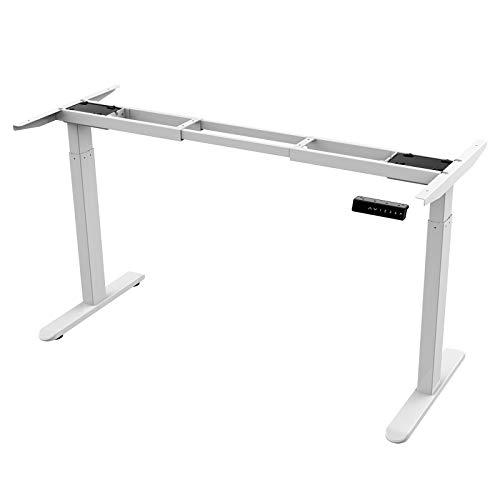 AIMEZO elektrisch stufenlos höhenverstellbarer Schreibtisch mit Kollisionschutz, Memory-Steuerung und Softstart/Stop Funktion (Weiß)
