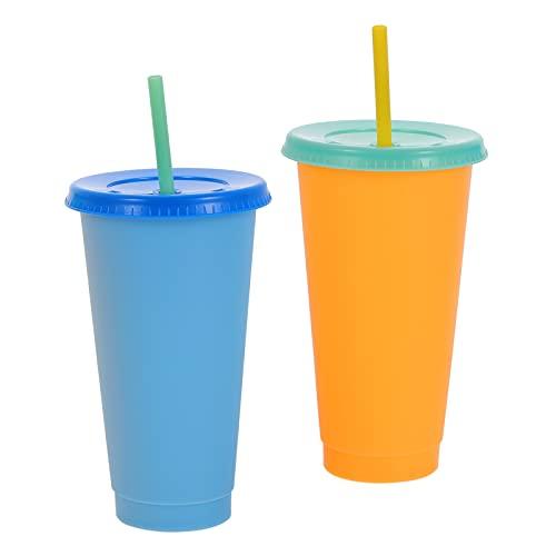 Hemoton 2 Unidades de Tazas de Jugo Bebidas Congeladas Naranja Azul Bebida de Verano Helado Taza de Decoloración por Calor con Paja Y Tapas Planas para Niños Pequeños Adultos Suministros