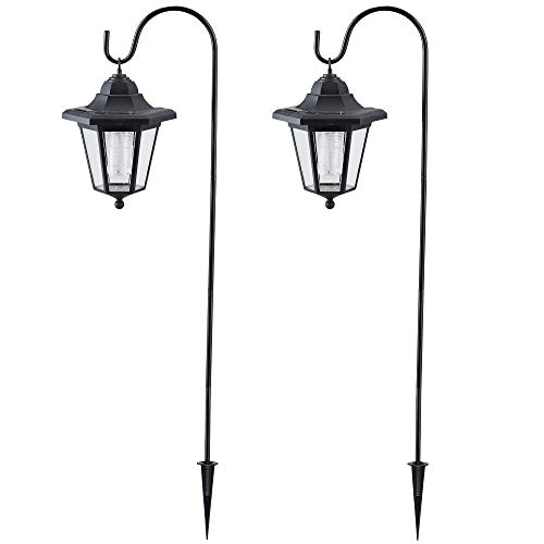 MAGGIFT Upgrade Hanging Solar Lights 37.8 Inch Dual Use Shepherd Hook Lights with 2 Shepherd Hooks Outdoor Solar Coach Lights, 2 Pack