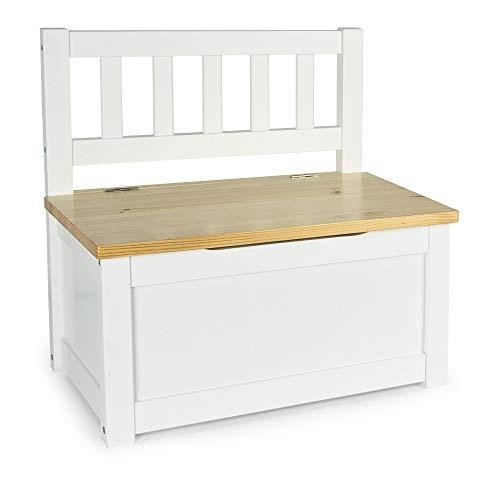 Leomark Baúl de madera para Juguetes - POLA - Caja con Almacenamiento para niños, de al estilo escandinavo (blanco/pino), altura: 55 cm