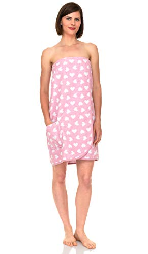 TowelSelections Women's Wrap, Shower & Bath, Terry Spa Towel XX-Large Pink-White Heart