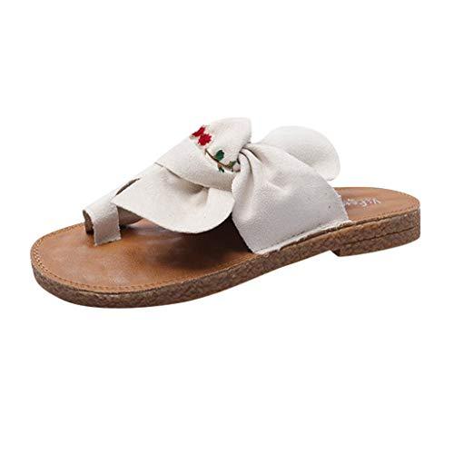 HDUFGJ Damen Sandalen gestickt Bunion Zehenkorrektur Hausschuhe Flache Hausschuhe Strandschuhe Outdoor-Schuhe Wedges Clogs komfortable Zehentrenner Leder BequemeWeiß(39)