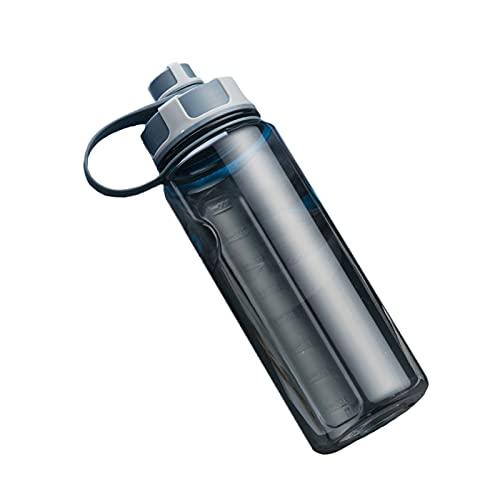 Protable Botella De Agua Deportiva con Filtro,1.5L No-resbalón Botella De Agua,A Prueba De Fugas Reutilizable Botella para Correr,Gimnasio,Yoga,Aptitud,Exterior Y Acampada-Negro 1.5l