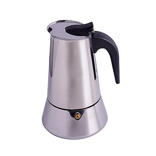 Stove top Moka Pot, 304 Stainless Steel 6 Cup 10oz/300ml, Espresso Maker Italian Coffee Machine Cafetera, Suitable for Induction Stove, Portable