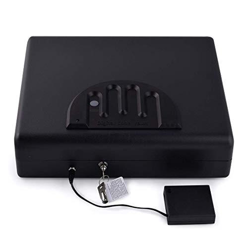 WTY Waffentresore Tragbare Fingerabdruck-Safe Massivstahl-Sicherheitsschlüsselschloss-Safes Für Geld Wertsachen Schmuck Pistole Box