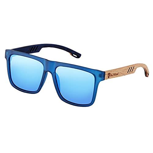 YuanRuiWMS Gafas de sol para hombre, diseño de madera de caoba cuadrada, polarizada, gafas de conducción (color: azul)