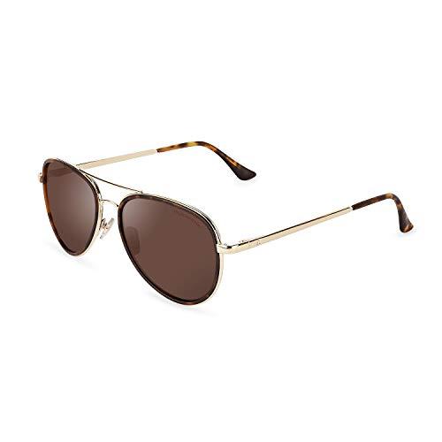 CLANDESTINE A15 Gold Matte Habana Brown - Gafas de sol Nylon HD Hombre & Mujer