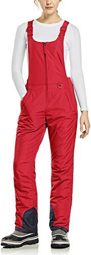 TSLA Women's Winter Snow Bibs, Waterproof Insulated Snowboard Overalls, Ripstop Ski Pants, Winter Snow Bib Red, Large [Waist:29.5~32_Hips:43~45.5 Inch]