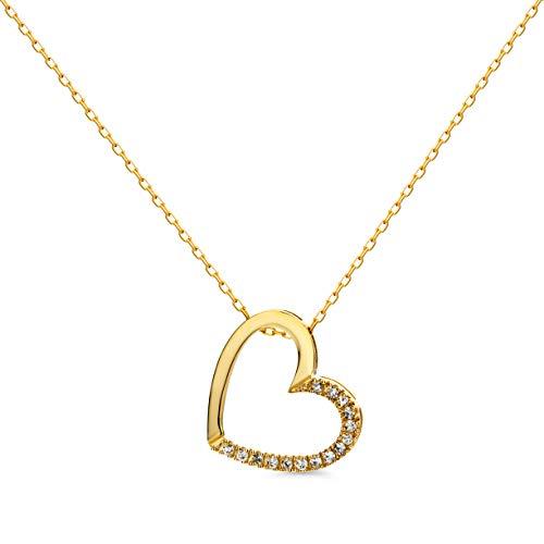 Orovi Damen Halskette mit Diamant herzkette GelbGold Kette 9 Karat (375) Brillanten 0.10crt, Goldkette mit 15 Diamanten
