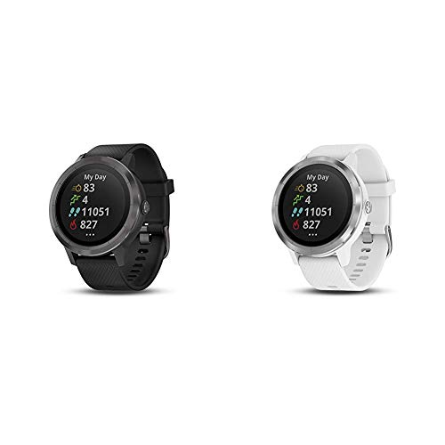 Garmin V??voactive 3, GPS Smartwatch Contactless Payments Built-in Sports APPS, Black/Slate & v??voactive 3, GPS Smartwatch with Contactless Payments and Built-in Sports Apps, White/Silver