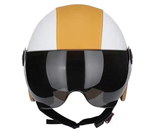 Electric motorcycle helmet, half-covered, lightweight, half helmet for men and women in summer, four-season universal helmet-Orange