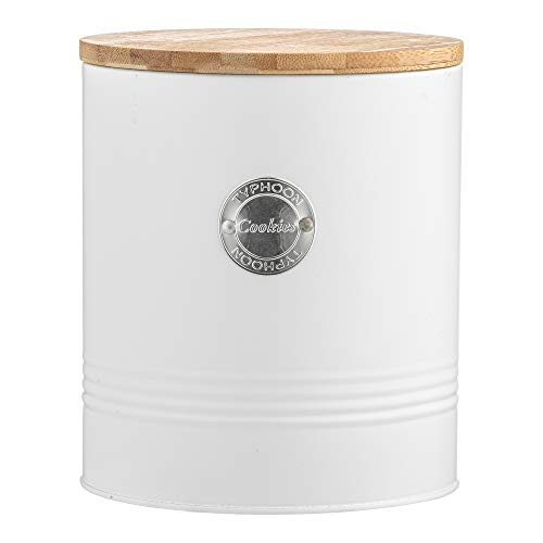 Typhoon Arctic Round White Cookie Biscuit Storage Container Jar with Airtight Bamboo Lid, 3.4Litre -...